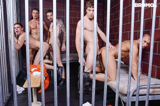 BROMO.COM » Barebacked In Prison Part 4 » Sebastian Young » Eli Hunter » Zane Anders » Donny Forza » Rocko South