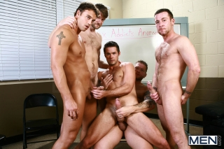 MEN.COM » Jizz Orgy » Sex Addicks Anonymous » Colby Jansen » Colby Keller » Mike De Marko » Rocco Reed » Trevor Knight