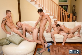 MEN.COM » Jizz Orgy » Stop In » Adam Bryant » Armando De Armas » Bennett Anthony » Darin Silvers » Johnny Rapid