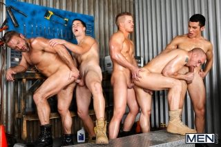 MEN.COM » Jizz Orgy » The Shop » Dirk Caber » Jimmy Johnson » John Magnum » Lance Luciano » Liam Magnuson
